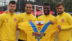 JERSEY DAY and Western Sydney Wanderers players Brendan Hamill, Tarek Elrich, Roly Bonevacia, Josh Risdon
