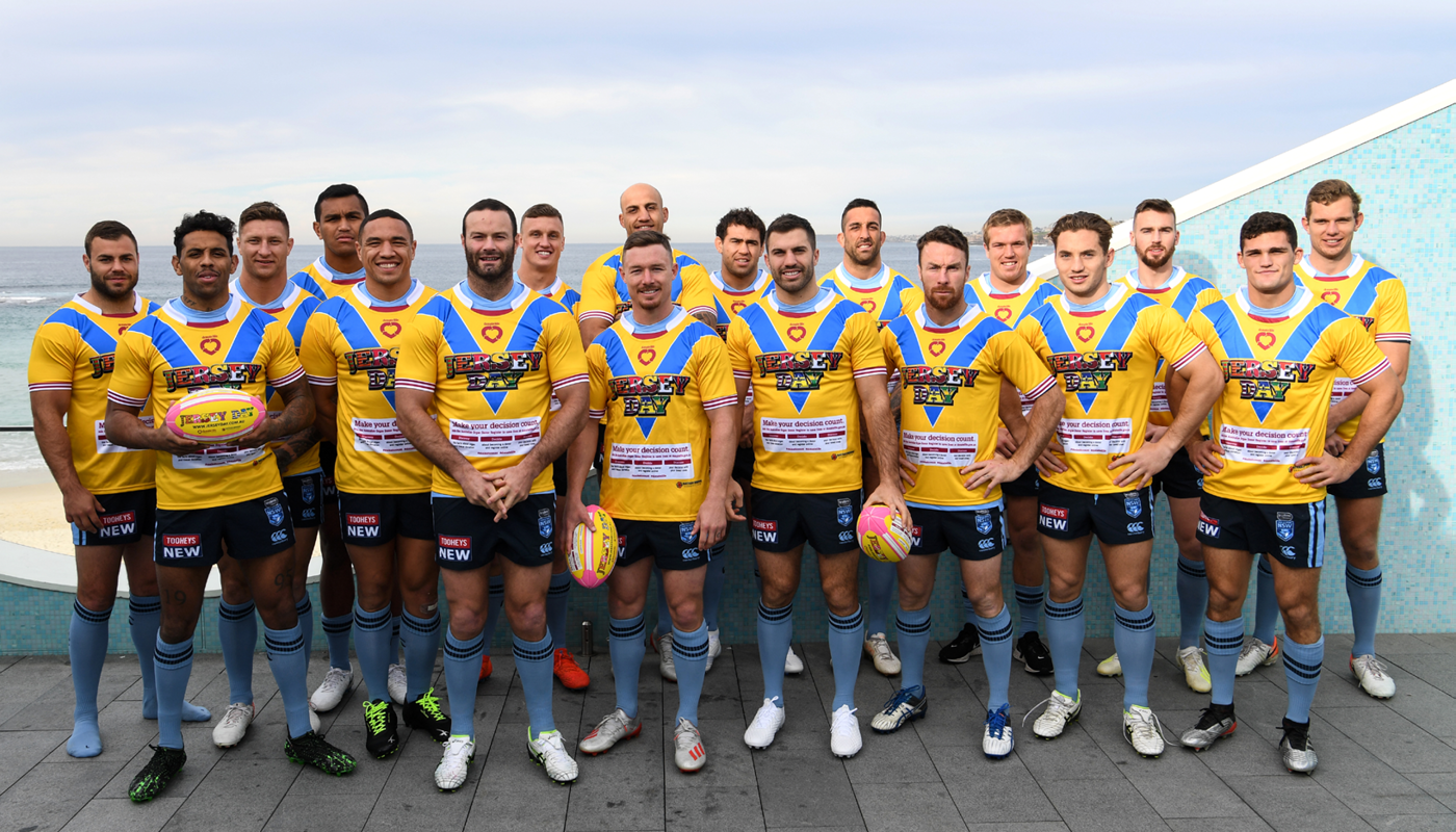 NSW Blues State of Origin in Jersey Day jerseys